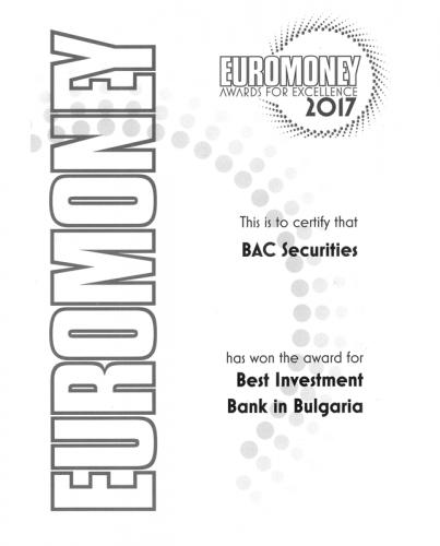 Euromoney 2017 Award BAC Securities