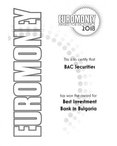 Euromoney 2018 Award BAC Securities